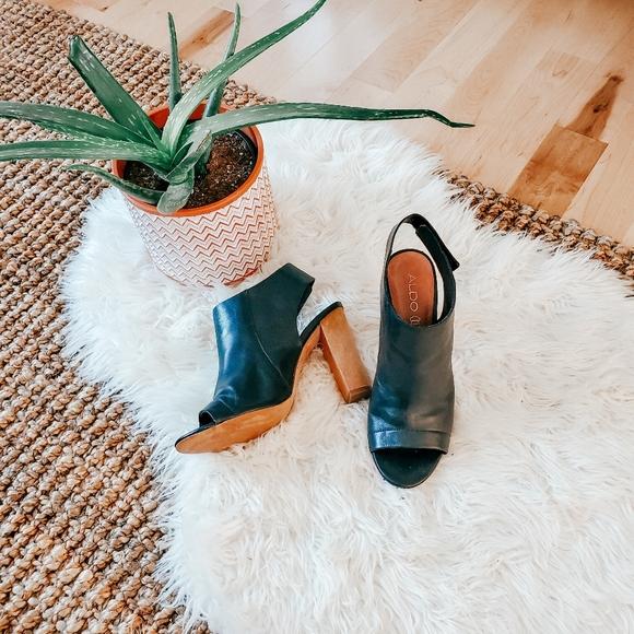 Aldo sling back peep toe heels